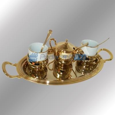 Кофейный набор с позолотой Astra на 2 персоны, с подносом