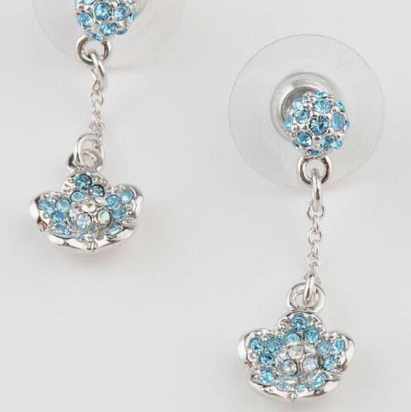 Серьги с кристаллами Swarovski Цветочки голубые