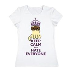 Женская футболка из хлопка Keep calm and hate everyone
