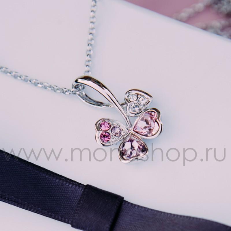 Кулон с розовыми кристаллами Сваровски «Аленький цветочек»