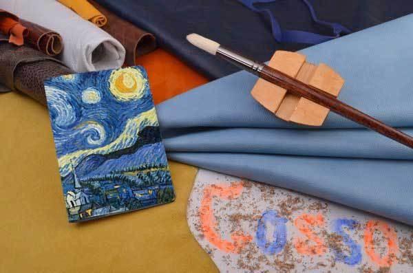Горизонтальный кардхолдер-книжка из кожи Звездная ночь