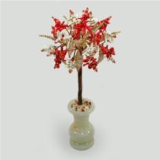 Дерево счастья из  коралла в вазочке из оникса