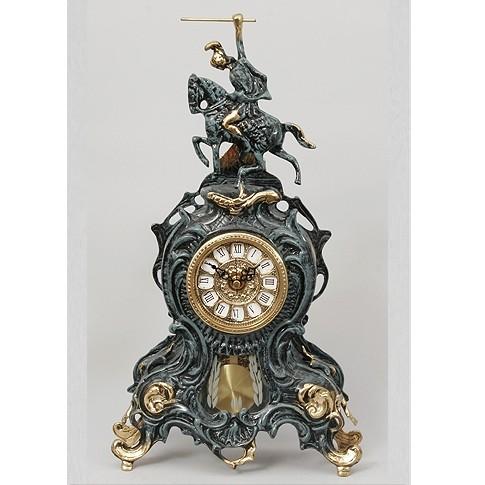 Часы с маятником бронзовые каминные Всадник