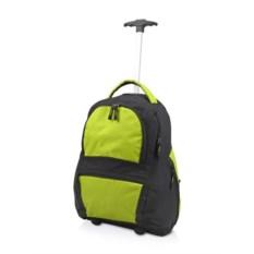 Зеленый рюкзак на колесиках с выдвижной ручкой