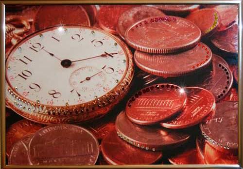Картина с кристаллами Swarovski Время деньги 2
