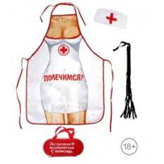 Набор Экстренная медицинская помощь: фартук, медицинская шапочка, плетка