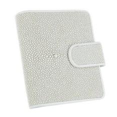 Белая карманная визитница из кожи ската