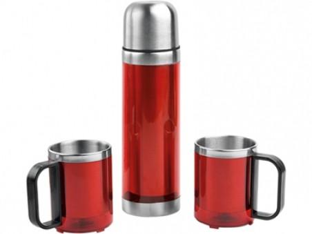 Красный набор из термоса и двух кружек