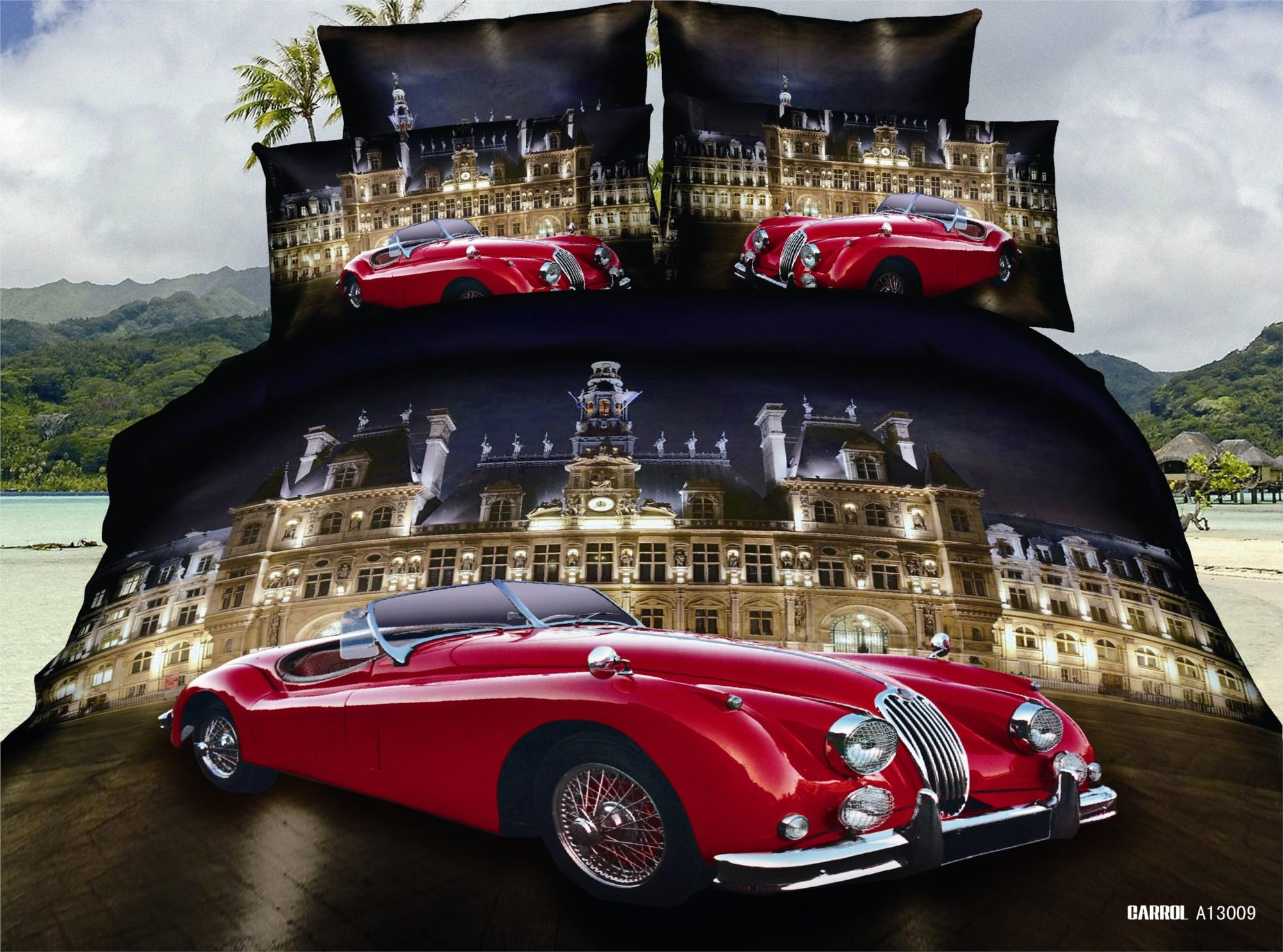 Евро комплект постельного белья 3D, ретро машина