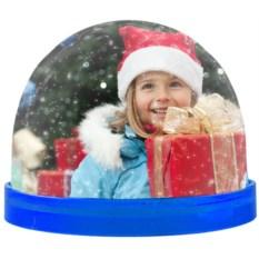 Синий магнит с вашим фото «Падающий снег»
