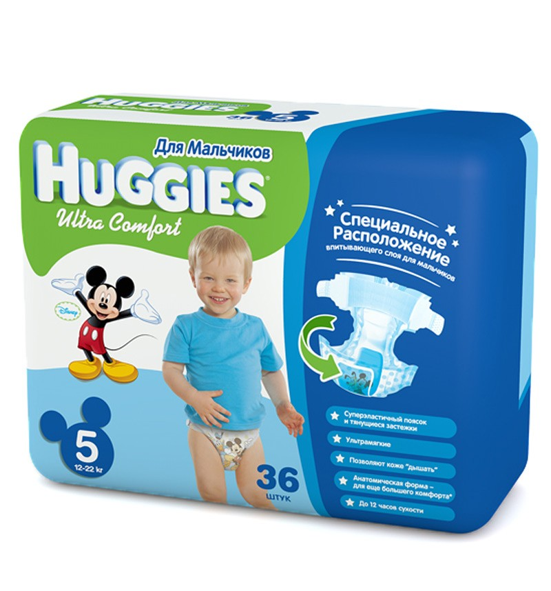 Подгузники Huggies Ultra Comfort Jumbo 5 (12-22 кг) 36 шт.