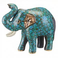 Фигурка Синий слоник с поднятым вверх хоботом