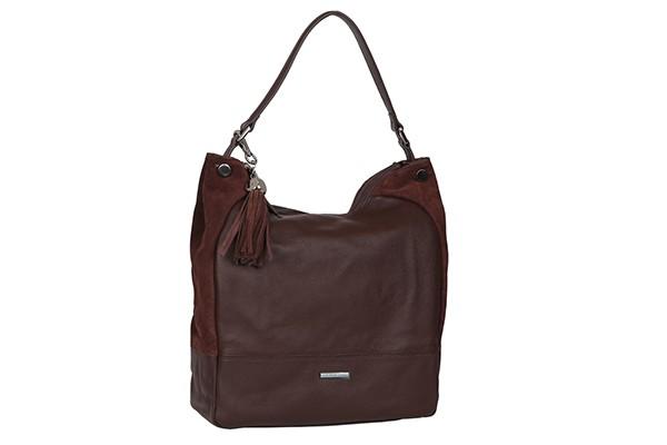 Коричевая женская кожаная сумка Fabretti