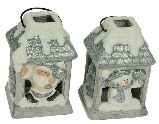 Подсвечник Дед мороз/снеговик в домике