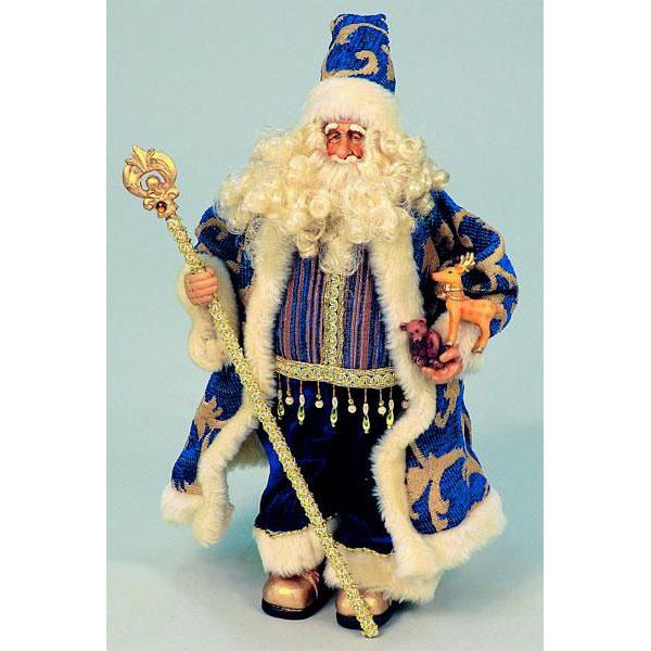 Дед Мороз сине-золотой 40 см