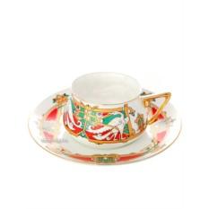 Фарфоровая чайная чашка с блюдцем Сказочные птицы