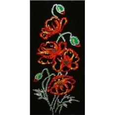 Картина с кристаллами Сваровски Маки