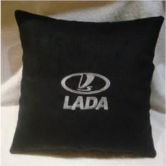 Черная подушка с серебряной вышивкой Lada