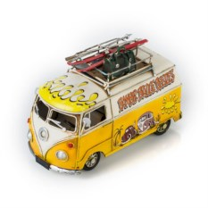 Ретро-модель Бело-жёлтый автобус с фоторамкой и подставкой