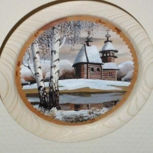Объёмная картина на бересте Зимняя церковь и две березы