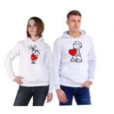 Парные толстовки-кенгуру Мальчик и девочка с сердечками