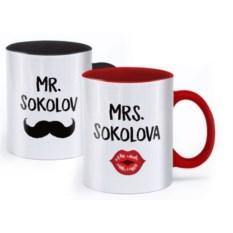 Именные парные кружки Мистер и миссис