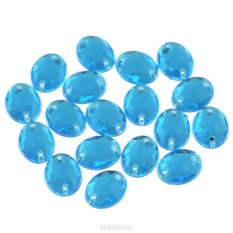 Стразы пришивные Астра, овальные, цвет: голубой, 18 шт