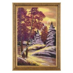 Картина из каменной крошки в рамке из дерева Ночной пейзаж