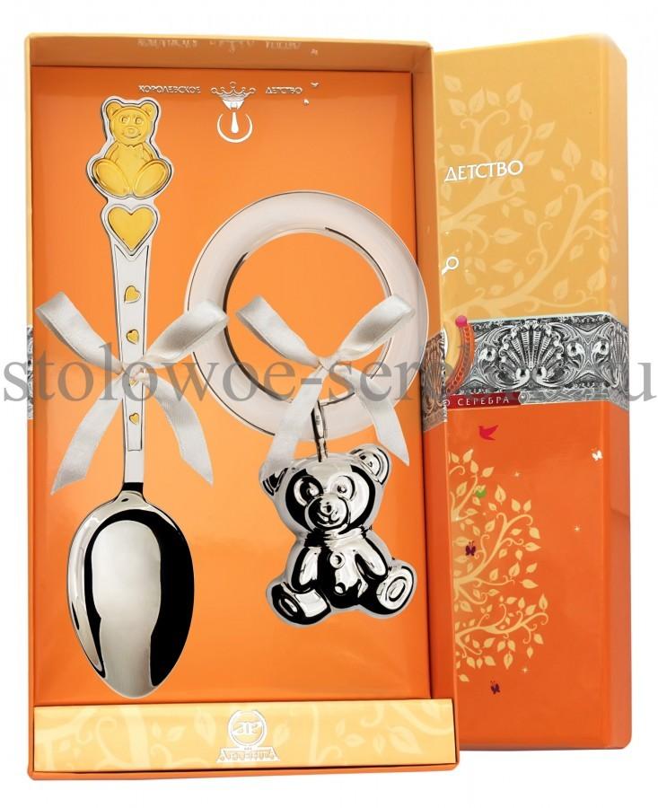 Серебряный детский набор Мишка с сердечками №19