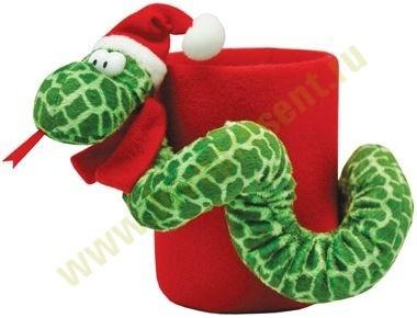 Новогодняя подставка под ручки с игрушкой «Змейка»