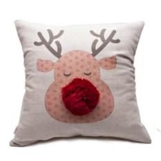 Декоративная подушка Лосик с помпонами