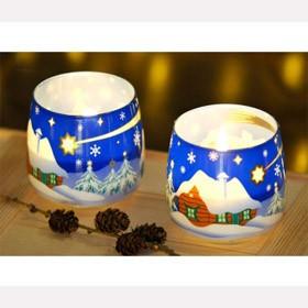 Свеча новогодняя Ззимний пейзаж в стакане