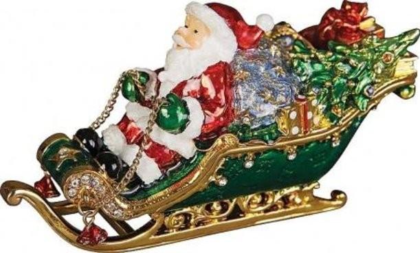 Шкатулка Дед Мороз в санях