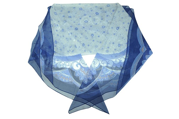 Синий женский платок Leo Ventoni (шерсть/шелк)