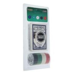 Набор для покера Начинающий из 24 фишек и карт