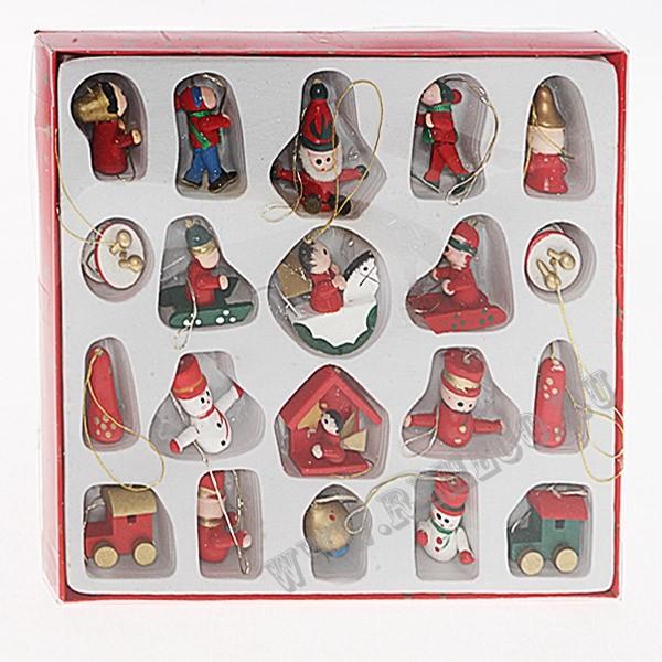 Набор из 15 новогодних украшений-фигурок