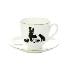 Чашка с блюдцем кофейная Помощница, серия Силуэты