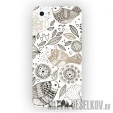 Чехол для iPhone 5 Цветы и Птички
