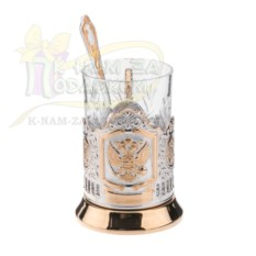 Хрустальный стакан с подстаканником и ложкой Герб России