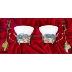 Фарфоровая чайная пара на 2 персоны Незабудки
