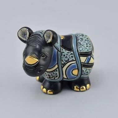 Керамическая статуэтка с позолотой Детеныш носорога
