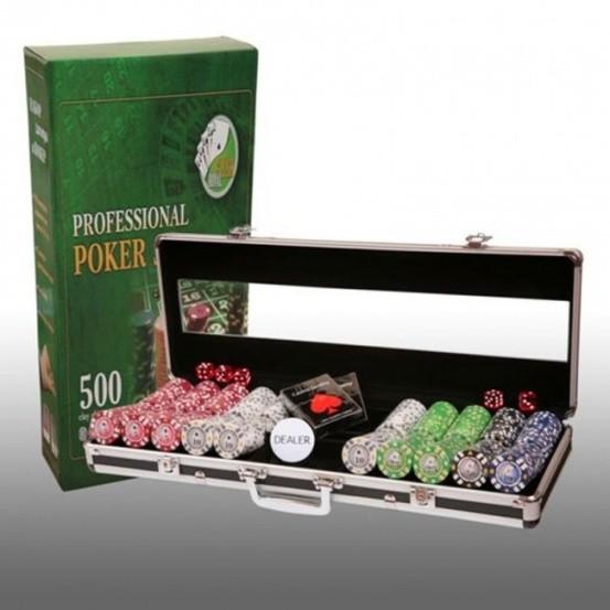 Покер в алюминиевом кейсе, 500 фишек