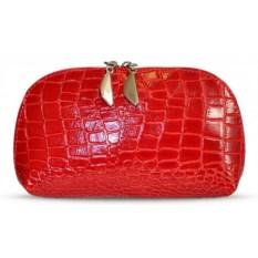 Красная косметичка из натуральной кожи