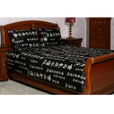 Комплект постельного белья «Белые иероглифы на черном фоне»