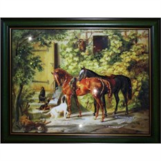 Картина с кристаллами Swarovski Дом охотника