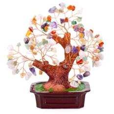 Бонсай (19 см) Микс камней (дерево счастья из натуральных камней)