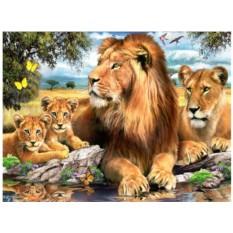 Набор для вышивки стразами «Львы у воды»