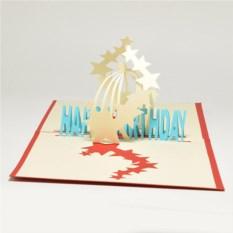 Объемная 3D открытка С днем рождения. Звезды