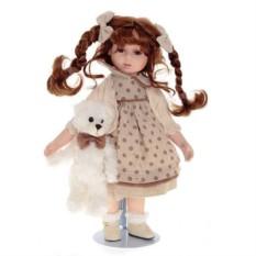 Фарфоровая кукла Ксюша с мишкой