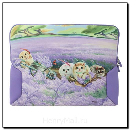 Чехол с кошками для ноутбука «Лаванда и ветер»